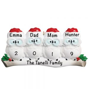 Owl Family of 4 Personalized Christmas Ornament - Blank