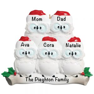 Owl Family of 5 Personalized Christmas Ornament