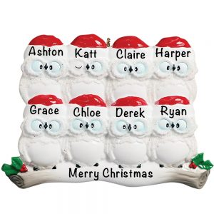 8 Owl Family of 8 Personalized Christmas Ornament