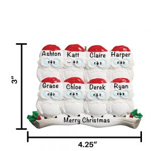 Owls Family of 8 Personalized Christmas Ornament
