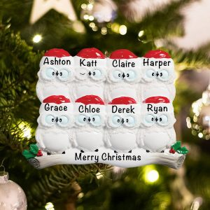 Personalized Owl Family of 8 Christmas Ornament