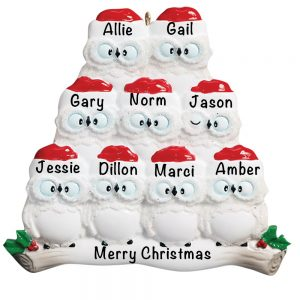 Owl Family of 9 Personalized Christmas Ornament