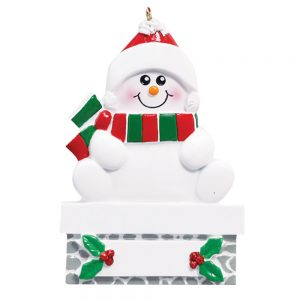 Snowman on Gray Wall Personalized Christmas Ornament - Blank