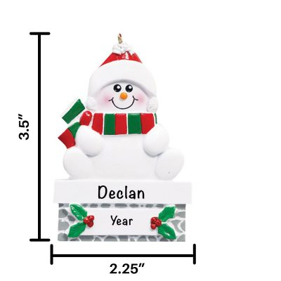 Snowmen Gray Wall Personalized Christmas Ornament