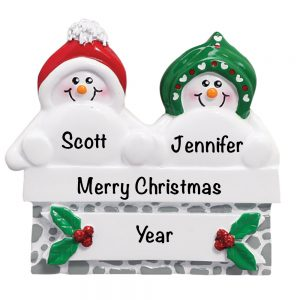Snowmen On Gray Wall Couple Personalized Christmas Ornament