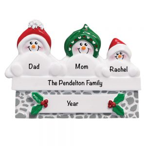 Snowmen On Gray Wall Family of 3 Personalized Christmas Ornament