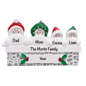 Snowmen On Gray Wall Family of 4 Personalized Christmas Ornament