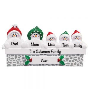 Snowmen On Gray Wall Family of 5 Personalized Christmas Ornament