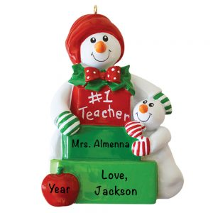 #1 Snow Teacher Personalized Christmas Ornament