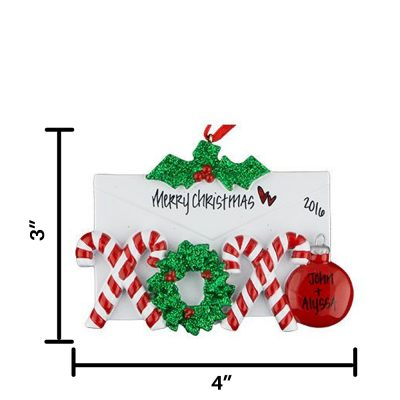 Candy Cane Love Letter Personalized Christmas Ornament