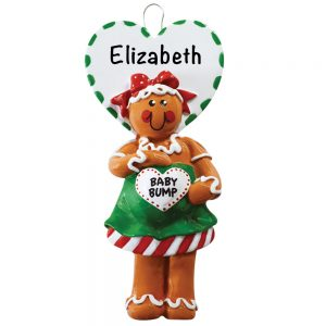 Gingerbread Expecting Mom Personalized Christmas Ornament