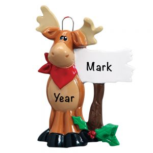 Moose Sign Personalized Christmas Ornament