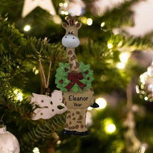 Personalized Christmas Giraffe Christmas Ornament