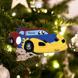 Personalized Race Car Toy Christmas Ornament
