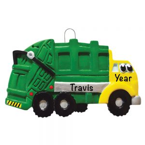 Garbage Truck Personalized Christmas Ornament