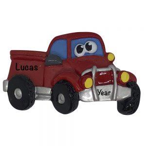 Pickup Truck Cartoon Personalized Christmas Ornament