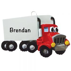 Semi Tractor Trailer Personalized Christmas Ornament