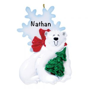 Polar Bear Personalized Christmas Ornament