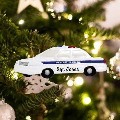 Personalized Police Car Christmas Ornament