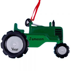 Green Tractor Personalized Christmas Ornament