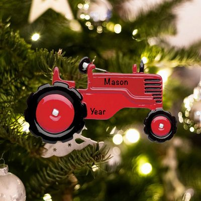 Personalized Red Tractor Christmas Ornament