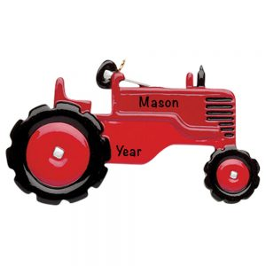 Red Tractor Personalized Christmas Ornament
