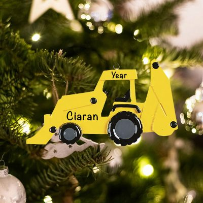 Personalized Back Hoe Christmas Ornament