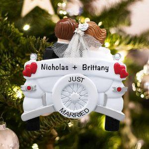 Personalized Wedding Car Christmas Ornament