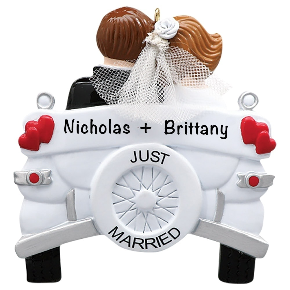 Just Married Wedding Car Personalized Ornament - Free ...