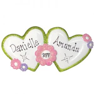 Best Friends Forever Hearts Personalized Ornament
