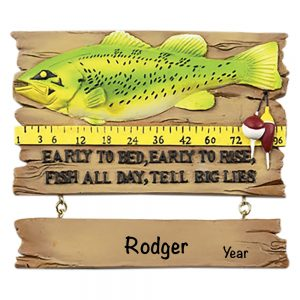 Fishing Sign Personalized Christmas Ornament