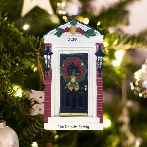 Personalized Red Brick Door Christmas Ornament