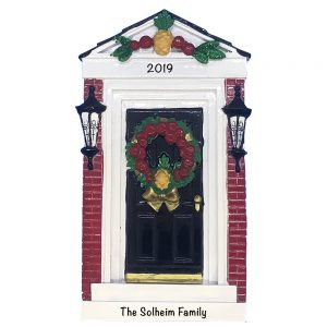 Red Brick Door Personalized Christmas Ornament
