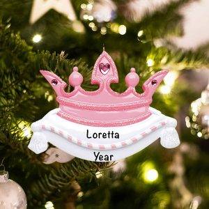 Personalized Pink Princess Crown Christmas Ornament