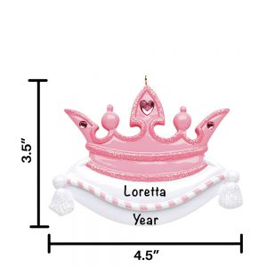Pink Crown Personalized Christmas Ornament