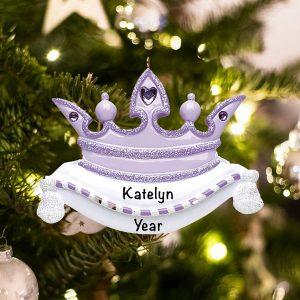 Personalized Purple Princess Crown Christmas Ornament