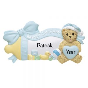 Baby's 1st Christmas Boy Baby Bottle Personalized Christmas Ornament