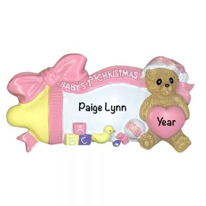 Baby's 1st Christmas Girl Baby Bottle Personalized Christmas Ornament