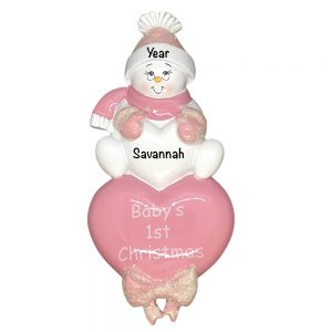 Baby's 1st Christmas Girl Sitting on Heart Personalized Christmas Ornament