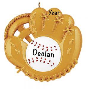 Baseball Catch Personalized Christmas Ornament
