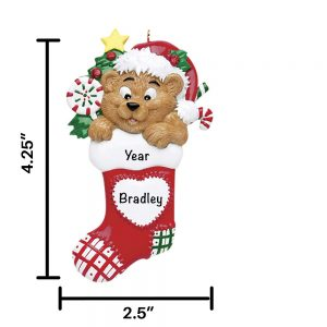 Bear in Stocking Personalized Christmas Ornament