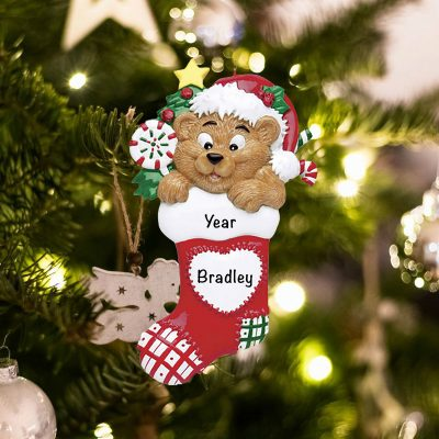Personalized Bear in a Stocking Christmas Ornament