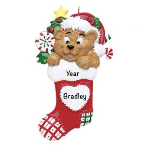 Stocking Bear Personalized Christmas Ornament