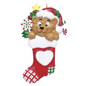 Stocking Bear Personalized Christmas Ornament - Blank