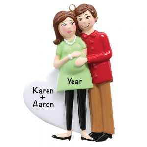 Expecting Couple Green Dress Personalized Christmas Ornament
