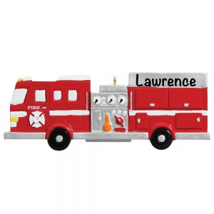 Fire Engine Personalized Christmas Ornament