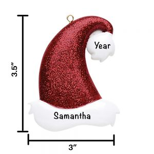 Glitter Santa Hat Personalized Christmas Ornament
