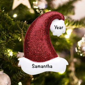 Personalized Santa Glitter Hat Christmas Ornament