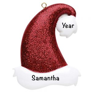 Santa Glitter Hat Personalized Christmas Ornament