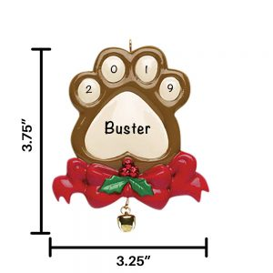 Paw Print Personalized Christmas Ornament